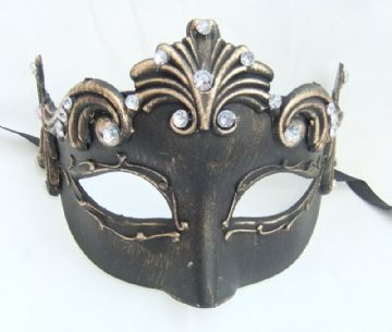Venetian style black & gold Baroque Half Mask